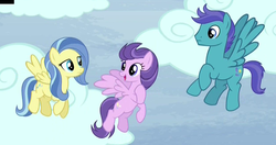 Size: 1248x657   Tagged: safe, screencap, clear skies, open skies, sunshower, pegasus, pony, tanks for the memories, abbott and costello, background pony, cloud, cropped, female, flying, male, mare, stallion, trio, who's on first?