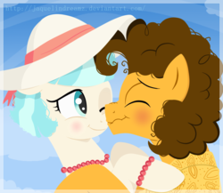 Size: 1104x960 | Tagged: safe, artist:jaquelindreamz, cheese sandwich, coco pommel, earth pony, pony, boop, cheesecoco, crack shipping, female, hat, jewelry, male, mare, noseboop, scrunchy face, shipping, stallion, straight