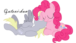 Size: 5075x2854 | Tagged: safe, artist:gutovi, derpy hooves, pinkie pie, pegasus, pony, absurd resolution, derpypie, ear bite, female, lesbian, mare, shipping