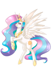 Size: 2893x4092 | Tagged: artist:mrrrn, princess celestia, rearing, safe, simple background, solo, spread wings