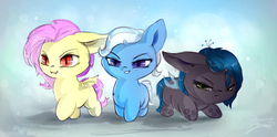 Size: 2000x995   Tagged: safe, artist:sverre93, fluttershy, queen chrysalis, trixie, bat pony, changeling, changeling queen, nymph, pony, unicorn, cute, cutealis, diatrixes, female, filly, flutterbat, peace was never an option, pure unfiltered evil, race swap, shyabates, shyabetes, sverre is trying to murder us, trio, trio female, weapons-grade cute, younger