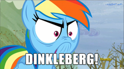Size: 610x342 | Tagged: safe, screencap, rainbow dash, tanks for the memories, angry, cinemaquestria, dinkleberg, do i look angry, image macro, meme