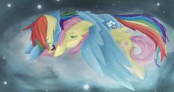 Size: 1356x724 | Tagged: safe, artist:risketch, fluttershy, rainbow dash, cloud, female, flutterdash, hug, lesbian, prone, shipping, sleeping, winghug
