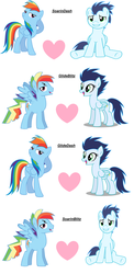 Size: 3588x7376 | Tagged: safe, artist:t-mack56, rainbow dash, soarin', pegasus, pony, female, gay, glide, glideblitz, glidedash, heart, lesbian, male, mare, rainbow blitz, rule 63, shipping, simple background, soarinblitz, soarindash, stallion, straight, white background
