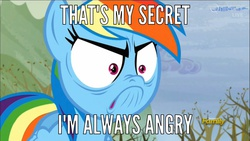 Size: 1366x768 | Tagged: safe, screencap, rainbow dash, tanks for the memories, angry, avengers, dialogue, do i look angry, female, image macro, meme, solo, the incredible hulk