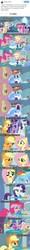 Size: 379x3200 | Tagged: safe, applejack, fluttershy, pinkie pie, rainbow dash, rarity, twilight sparkle, alicorn, tanks for the memories, clothes, cry pile, dashie slippers, m.a. larson, mane six, meme, meta, pancakes, tank slippers, text, thanks m.a. larson, twilight sparkle (alicorn), twitter