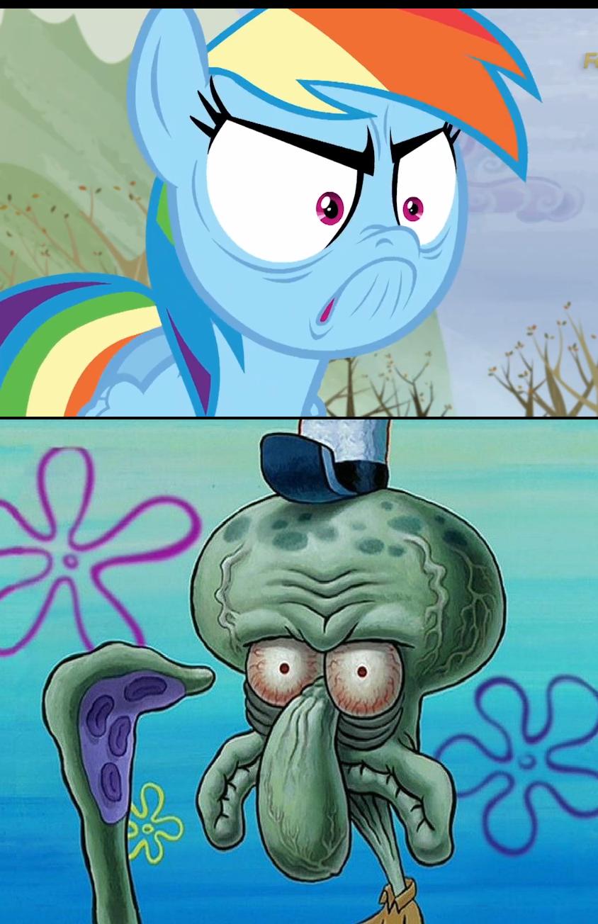 884274 comparison do i look angry just one bite meme rainbow dash safe spongebob squarepants squidward tentacles tanks for the memories