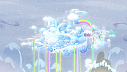Size: 1918x1080 | Tagged: safe, screencap, tanks for the memories, background, city, cloud, cloudsdale, no pony, rainbow, rainbow waterfall, scenery, snow, weather factory