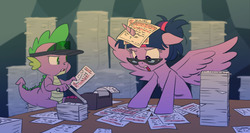 Size: 1280x681   Tagged: safe, artist:carnifex, spike, twilight sparkle, alicorn, dragon, pony, accessories, accounting, adding machine, alternate hairstyle, bipedal, desk, discussion in the comments, duo, featured image, female, floppy ears, frown, glare, glasses, hair bun, hat, horn impalement, horse taxes, machine, male, mare, open mouth, paper, pile, sitting, spread wings, stressed, table, taxes, this will end in sleeping, twilight sparkle (alicorn), visor