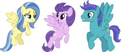 Size: 5379x2331   Tagged: safe, artist:cheezedoodle96, clear skies, open skies, sunshower, pegasus, pony, tanks for the memories, .svg available, abbott and costello, background pony, cutie mark, female, flying, frown, grin, hoof on chest, male, mare, open mouth, simple background, smiling, spread wings, stallion, svg, transparent background, trio, unamused, vector, who's on first?