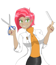 Size: 1300x1500 | Tagged: safe, artist:janji009, babs seed, human, bloom and gloom, breasts, busty babs seed, clothes, female, freaky fred, humanized, lab coat, older, razor, scissors, solo, stupid sexy babs seed, sweeney todd