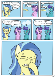 Size: 2893x4092   Tagged: safe, artist:novaspark, clear skies, open skies, sunshower, tanks for the memories, comic, cross-popping veins, dialogue, facehoof, pun, who's on first?