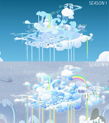 Size: 771x868 | Tagged: safe, edit, edited screencap, screencap, season 1, season 5, tanks for the memories, art evolution, background, city, cloud, cloudsdale, comparison, no pony, rainbow, rainbow waterfall, scenery, weather factory