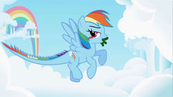 Size: 1280x720 | Tagged: safe, edit, edited screencap, screencap, rainbow dash, monster pony, original species, tatzlpony, opening, tatzldash