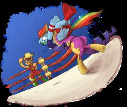 Size: 1436x1210 | Tagged: safe, artist:saturdaymorningproj, applejack, rainbow dash, rarity, earth pony, pegasus, pony, unicorn, bipedal, diamante elegante, german suplex, suplex, this will end in pain, wrestling