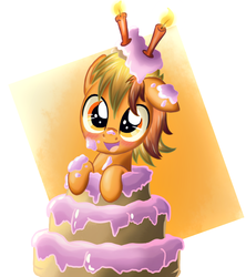 Size: 888x1000 | Tagged: safe, artist:ruhisu, oc, oc only, oc:brave wing, birthday, blushing, cake, candle, colt, cute, dirty, foal, happy, male, ocbetes, pop out cake, smiling, solo
