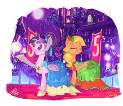 Size: 761x658 | Tagged: safe, artist:jowybean, applejack, twilight sparkle, alicorn, earth pony, pony, twijack weekly, alternate hairstyle, clothes, crowd, dress, female, gala dress, lesbian, mare, shipping, twijack, twilight sparkle (alicorn), waving