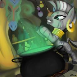 Size: 670x675 | Tagged: safe, artist:zinxa, zecora, zebra, bottle, mask, zecora's hut