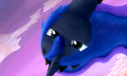 Size: 1280x768   Tagged: safe, artist:everypone, princess luna, female, looking at you, looking down, solo, upside down