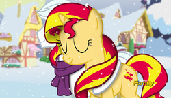 Size: 1201x690 | Tagged: safe, artist:shutterflyeqd, double diamond, sunset shimmer, pony, clothes, crack shipping, discovery family logo, doubleset, fake screencap, female, male, ponyville, scarf, shipping, snow, snowfall, straight, why