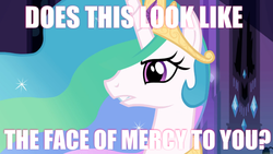 Size: 640x360 | Tagged: equestria girls, equestria girls (movie), face of mercy, image macro, meme, princess celestia, safe, screencap, solo