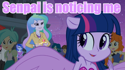 Size: 640x360 | Tagged: safe, screencap, captain planet, golden hazel, nolan north, princess celestia, princess luna, tennis match, twilight sparkle, wiz kid, equestria girls, equestria girls (movie), background human, big crown thingy, element of magic, image macro, jewelry, meme, ponied up, principal celestia, purple text, regalia, senpai, senpai noticed me, twilight sparkle (alicorn), vice principal luna