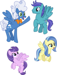 Size: 4000x5174   Tagged: safe, artist:ambassad0r, clear skies, fluffy clouds, open skies, sunshower, pegasus, pony, tanks for the memories, absurd resolution, bowtie, female, flying, male, mare, simple background, stallion, transparent background, vector