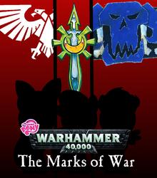 Size: 910x1035 | Tagged: safe, apple bloom, scootaloo, sweetie belle, eldar, ork, craftworld eldar, cutie mark crusaders, fanfic art, fanfic cover, imperium of man, warhammer (game), warhammer 40k