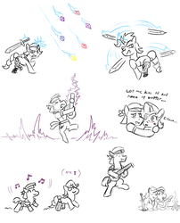 Size: 1280x1587 | Tagged: safe, artist:jargon scott, coco pommel, rarity, alternate universe, bandana, bard, blushing, bonfire, campfire, clothes, cocoa cantle, eyepatch, female, lute, male, marshmallow coco, music notes, rule 63, sash, shipping, socks, straight, sword, sword rara, weapon