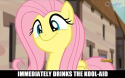 Size: 960x600 | Tagged: caption, cult, cute, edit, edited screencap, flutterbob, fluttershy, image macro, jim jones, jonestown, kool-aid, meme, safe, screencap, smiling, the cutie map