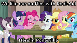 Size: 1920x1080 | Tagged: crossover, cult, image macro, jonestown, jonesville, kool-aid, meme, muffin, muffin top, safe, screencap, the cutie map