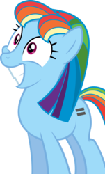 Size: 3905x6452 | Tagged: safe, artist:accu, rainbow dash, pegasus, pony, the cutie map, bad end, controlled, equal cutie mark, equalized, female, grin, happy, mare, mind control, simple background, smiling, solo, subservient, the bad guy wins, transparent background, vector, wide eyes