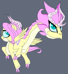 Size: 686x743 | Tagged: safe, artist:terry, fluttershy, amphisbæna, chimera, dragon, claws, dragonified, flutterdragon, horns, solo, species swap, two heads