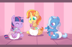 Size: 2890x1900 | Tagged: alicorn, artist:cuddlehooves, baby, babylight sparkle, baby pony, babyset shimmer, baby trixie, counterparts, cuddlehooves is trying to murder us, cute, cutie mark diapers, diaper, diatrixes, female, foal, magical trio, mare, plushie, pony, poofy diaper, princess cadance, princess celestia, princess luna, safe, shimmerbetes, sunset shimmer, trixie, twiabetes, twilight's counterparts, twilight sparkle, twilight sparkle (alicorn), twix-e