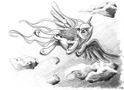 Size: 3501x2550 | Tagged: safe, artist:uminanimu, princess luna, cloud, grey scales, monochrome, sketch, solo