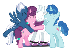 Size: 2000x1343 | Tagged: dead source, safe, artist:vaniaeditors, double diamond, night glider, party favor, sugar belle, earth pony, pegasus, pony, unicorn, the cutie map, clothes, cute, double dawwmond, equal four, eyes closed, favorbetes, female, glideabetes, group hug, male, mare, scarf, simple background, skis, smiling, stallion, sugarbetes, transparent background, vector