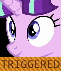 Size: 640x742 | Tagged: safe, artist:dtkraus, starlight glimmer, the cutie map, reaction image, smiling, solo, starlight justice warrior, triggered, vector, wide eyes