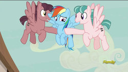Size: 1280x720 | Tagged: safe, artist:dtkraus, edit, screencap, rainbow dash, pegasus, pony, the cutie map, biting, creepy, equal cutie mark, equalized mane, female, flying, grin, implied cannibalism, male, mare, nervous, stallion, trio, wat