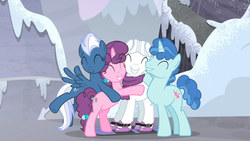 Size: 1920x1080 | Tagged: animation error, clothes, double diamond, earth pony, equal four, eyes closed, female, group hug, male, mare, mountain, night glider, party favor, pegasus, pony, safe, scarf, screencap, skis, smiling, snow, stallion, sugar belle, the cutie map, trail, unicorn