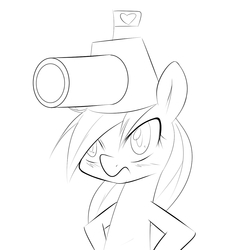 Size: 1247x1247 | Tagged: safe, artist:randy, oc, oc only, oc:aryanne, pony, bipedal, black and white, blushing, cannon, fez, flag, frown, glare, grayscale, grumpy, hat, headcannon, heart, monochrome, silly, sketch, solo, standing, tank (vehicle)