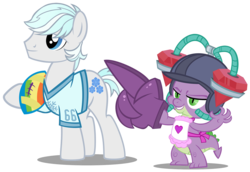 Size: 1600x1098 | Tagged: safe, artist:pixelkitties, double diamond, spike, american football, apron, clothes, drinking hat, gem helmet, hat, helmet, hoofball, naked apron, shirt, simple background, transparent background, vector