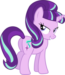 Size: 5160x5940 | Tagged: safe, artist:90sigma, starlight glimmer, pony, unicorn, absurd resolution, bedroom eyes, butt, female, glimmer glutes, looking at you, looking back, looking back at you, mare, plot, rear view, s5 starlight, simple background, smiling, smiling at you, solo, transparent background, vector