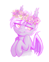 Size: 2396x3000 | Tagged: safe, artist:mav, oc, oc only, oc:midnight blossom, bat pony, pony, :t, bedroom eyes, blushing, cute, floral head wreath, flower, looking back, simple background, smiling, solo, white background