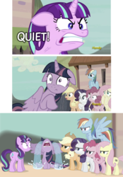 Size: 1051x1506 | Tagged: safe, artist:dm29, screencap, applejack, fluttershy, pinkie pie, rainbow dash, rarity, starlight glimmer, twilight sparkle, alicorn, earth pony, pegasus, pony, unicorn, the cutie map, :c, angry, context, crying, discovery family logo, equal cutie mark, female, floppy ears, frown, glare, gritted teeth, image macro, mane six, mare, meme, now you fucked up, ocular gushers, parody, quiet, rage, ragelight glimmer, run, scene interpretation, screaming, shut up twilight, sitting, spread wings, this ended in tears, this will end in pain, twilight sparkle (alicorn), vein bulge, wide eyes, you dun goofed