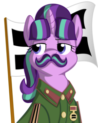 Size: 1024x1272 | Tagged: safe, artist:spinoffjoe, starlight glimmer, pony, unicorn, the cutie map, clothes, communism, facial hair, flag, josef stalin, moustache, parody, ponified, stalin glimmer, stalinstache, uniform
