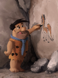 Size: 760x1024 | Tagged: safe, artist:cannibalus, human, :q, cave painting, caveman, drawing, fred flintstone, prehistoric, rock, second brony, smiling, the flintstones, tongue out