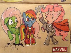 Size: 960x716 | Tagged: safe, artist:archyart, fluttershy, pinkie pie, rainbow dash, crossover, iron man, marvel, the incredible hulk, thor, traditional art, xk-class end-of-the-world scenario