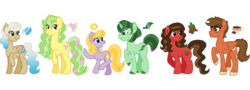Size: 5550x2000 | Tagged: safe, artist:princess-madeleine, oc, oc only, oc:autumn spice, oc:bluebell breeze, oc:cheershine, oc:chili snap, oc:spearmint, oc:woodland spring, earth pony, pegasus, pony, unicorn, cutie mark, group, redesign, simple background, size difference, transparent background