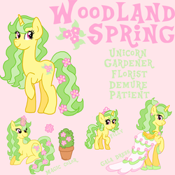 Size: 3000x3000 | Tagged: safe, artist:princess-madeleine, oc, oc only, oc:woodland spring, pony, unicorn, clothes, cutie mark, dress, female, filly, flower, gala, gala dress, grand galloping gala, reference sheet