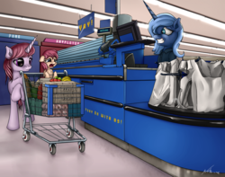 Size: 3120x2463 | Tagged: safe, artist:neko-me, princess luna, oc, alicorn, earth pony, pony, unicorn, apple, banana, cash register, checkout line, clothes, counter, crying, fake smile, female, filly, foal, food, forced smile, fruit, groceries, grocery bag, grocery store, mare, open mouth, pear, retail, s1 luna, shirt, shopping, shopping cart, smiling, store, walmart, woona